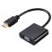 Cabo adaptador HDMI Macho a VGA Fêmea preto 20cm